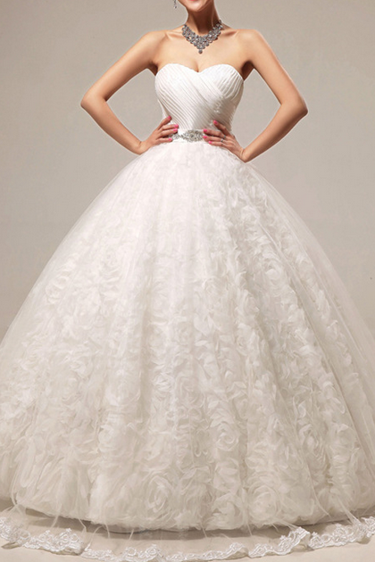 Strapless Sweetheart Ruched Ball Gown Wedding Dress Featuring Floral Ruffle Skirt and Lace-Up Back