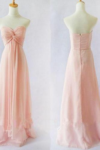 Pretty Cute and lovely Light Pink Simple Handmade Chiffon Floor Length Prom Dresses 2015, Pink Prom Dresses, Bridesmaid Dresses