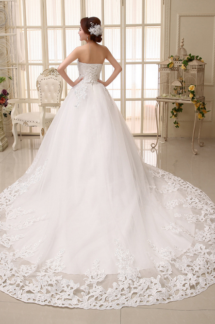 The bride wedding dress 2015 latest sweet princess grace trailing wedding dress
