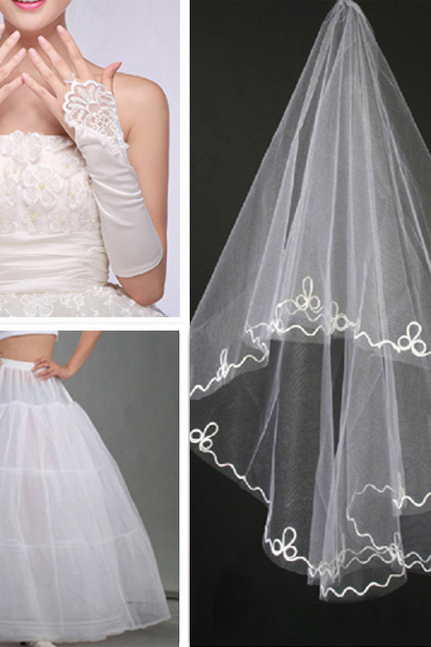 The bride wedding dress accessories/glove/yarn/skirt/dress three-piece suit