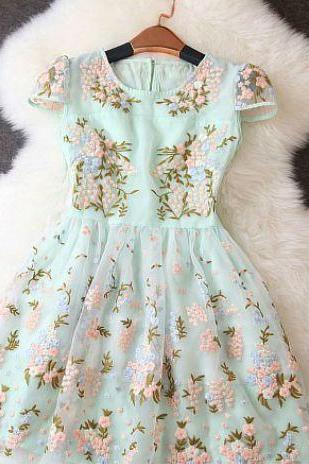 Adorable Short Sleeve Embroidered Floral Dress