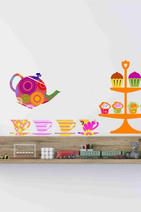 Nursery Decor Teapot Teacups and cupcakes Fabric wall decals