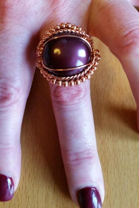 PURPLE SHELL PEARL WIRE WRAPPED RING