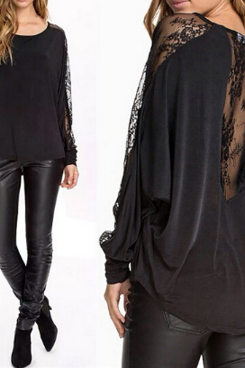 Lace long-sleeved T-shirt bat VG20107MN
