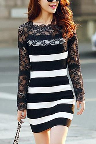 Fashion Lace Spliced Long Sleeve Round Neck Slim Fit Knitted Dress
