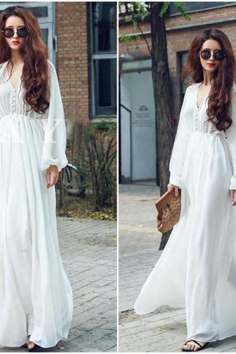 White Chiffon Long Sleeve Bohemian Maxi