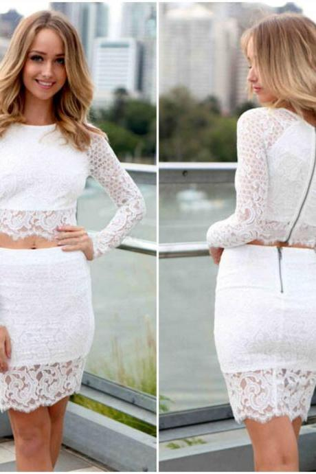 Long Sleeve White Lace Two Piece Dress Set