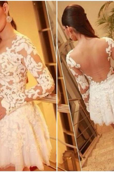 Beautiful Long Sleeve Lace Mesh Design White Mini Dress