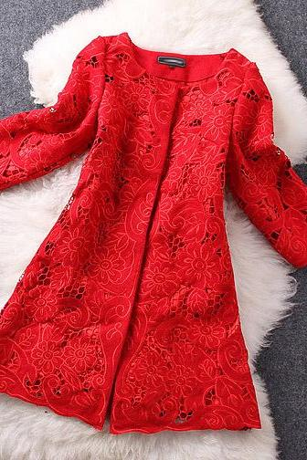 Embroidered Crochet Wool And Cotton Top Coat Jacket In Red
