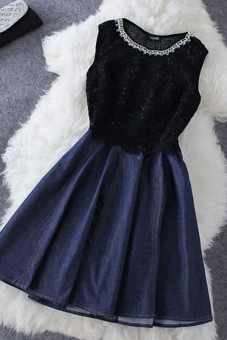 Fashion Stitching Denim Sleeveless Dress DFG