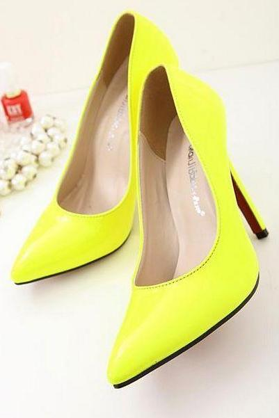 Neon Shade Patent Leather Pointed-Toe High Heel Stilettos
