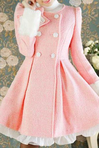 Pink Lace Bow Woolen Coat BV1011CH