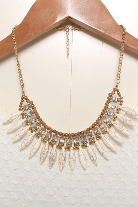 Tribal white statement necklace, gold bib necklace
