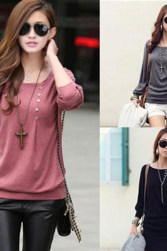 1PC Women Casual Sexy Cotton Batwing Sleeve Loose T-Shirt Tops Blouse Excellent
