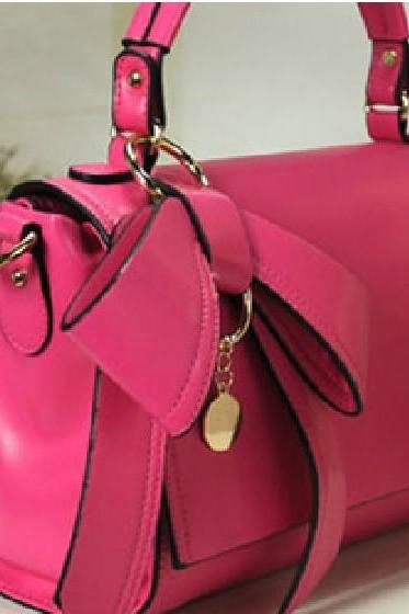 New Fashion Bowknot/Shoulder Woman Bag-Pink