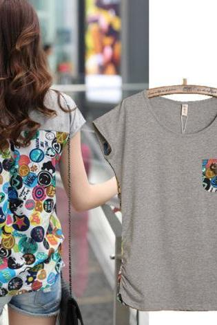 Korean Hot Cute Stitching Round-Neck Cotton Short Sleeve Tee T-Shirt Blouse Tops