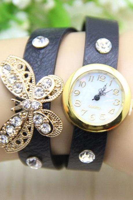Long black Strap Butterfly Rhinestones Woman Watch