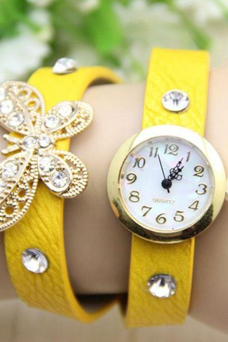 Long Strap yellow Butterfly Rhinestones Woman Watch