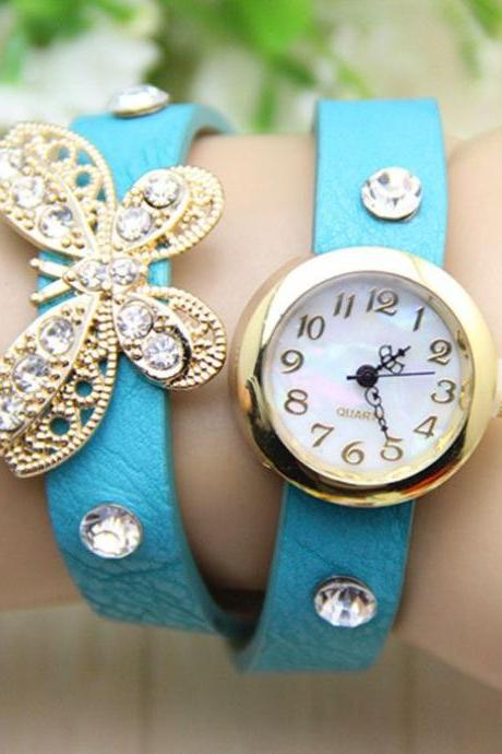 Long blue Strap Butterfly Rhinestones Woman Watch