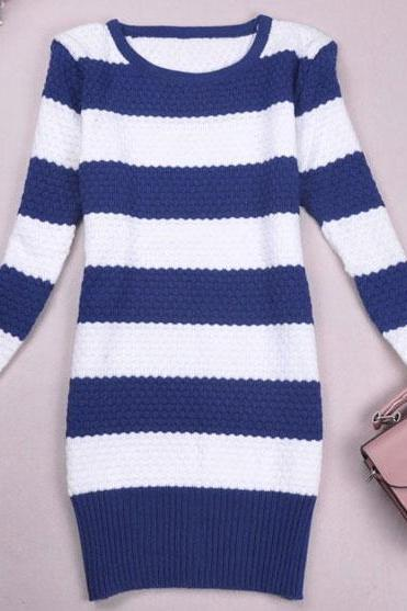 Elegant Strip Long Knit Sweater