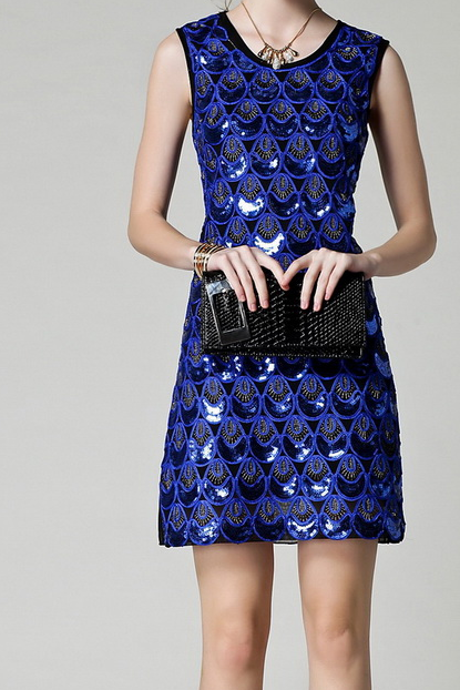 2015 fashion temperament blue dress Noble embroidered sequined dress
