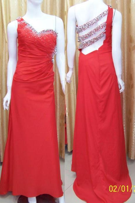 Pd201 One-Shoulder Prom Dress,Satin Prom Dress,backless Prom Dress