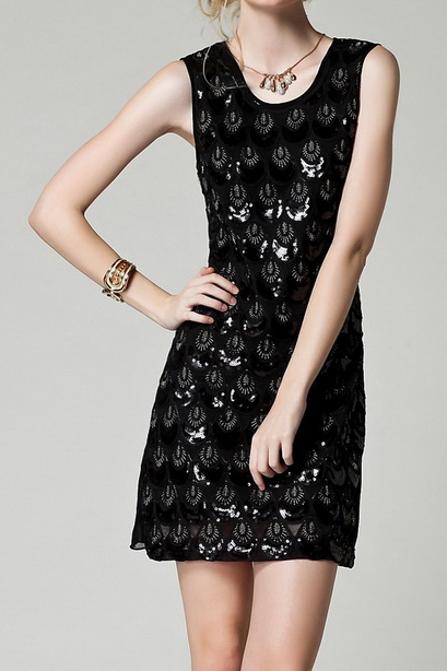 2015 black dress fashion temperament Noble embroidered sequined dress