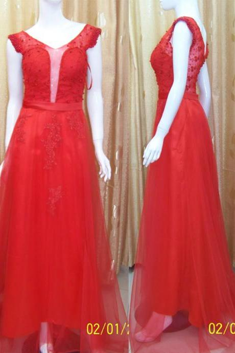 Pd202 V-Neck Evening Dress,A-Line Evening Dress,Tulle Evening Dress,Elegant Evening Dress,Beading Prom Dress