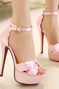 Sexy satin high-heeled sandals--pink