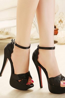 Sexy satin high-heeled sandals--black