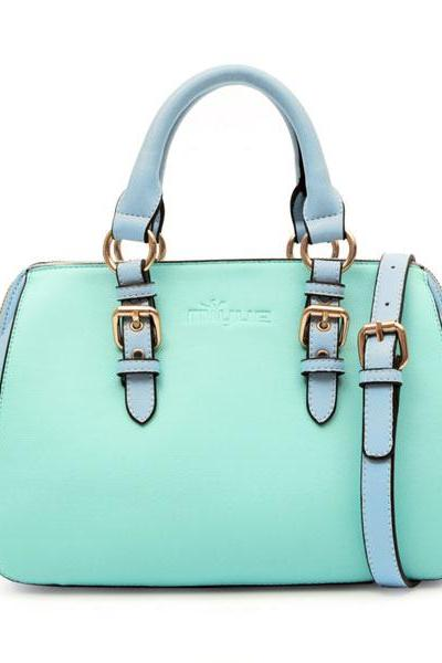 Fashion MInt Green Buckle Handbag Tote Shoulder Bag