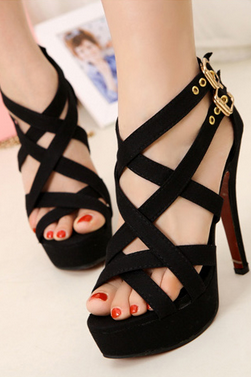 Fashion Roman sandals black high heels nightclub