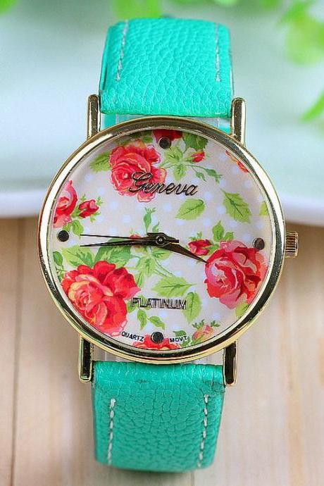 Dress Rose Flower green strap Woman Watch