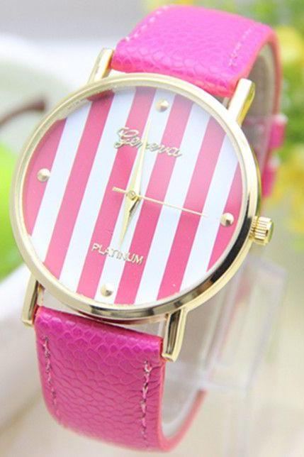 Stripes purple Dial Party Woman Watch