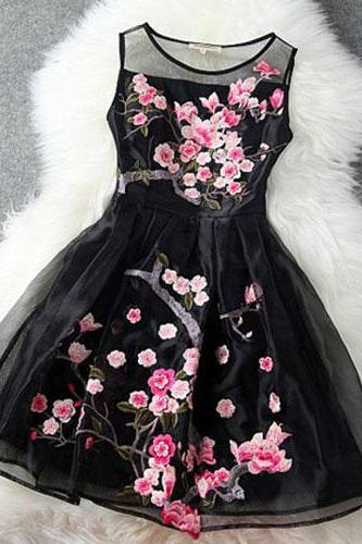 High quality Embroidery Flowers Sheer Ruffled Layered Evening Tank Dress