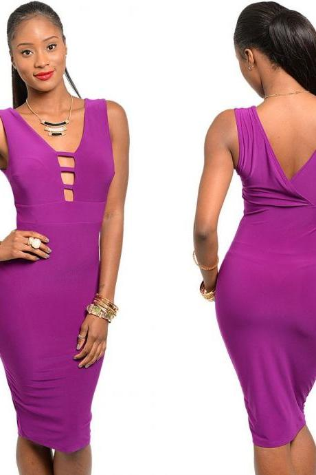 Women Keyhole Cutout Club Cocktail Party Evening Fitted Bodycon Pencil Dress B04