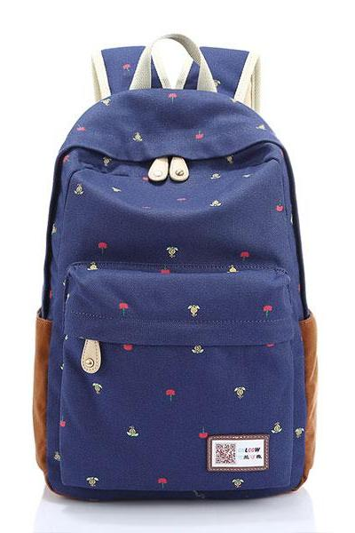 Floral Print Canvas Bag Backpack