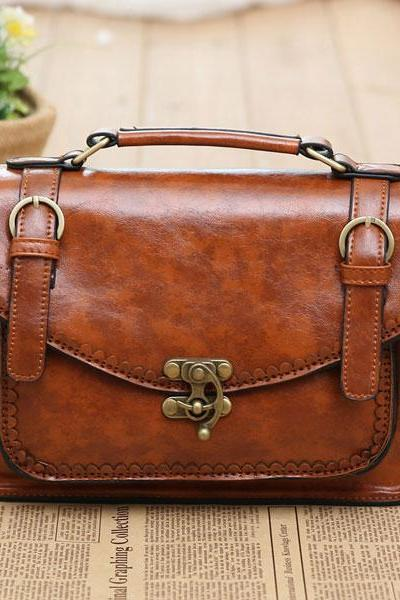 Vintage Double Buckle Shoulder Bag