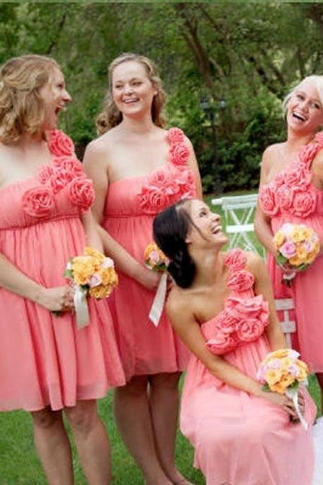 Bd224 One-Shoulder Bridesmaid Dress,Flowers Bridesmaid Dress,Short Bridesmaid Dress