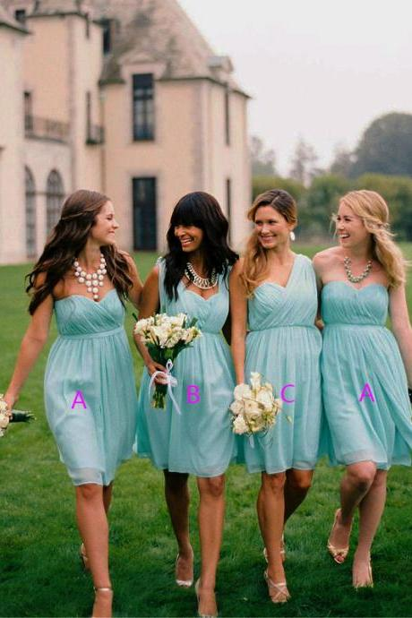 Bd223 Chiffon Bridesmaid Dress,Short Bridesmaid Dress,One Shoulder Bridesmaid Dress