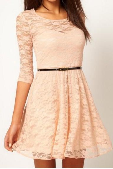 Fashion Lace Stitching Round Neck Long-Sleeved Dress With Belt - Beige