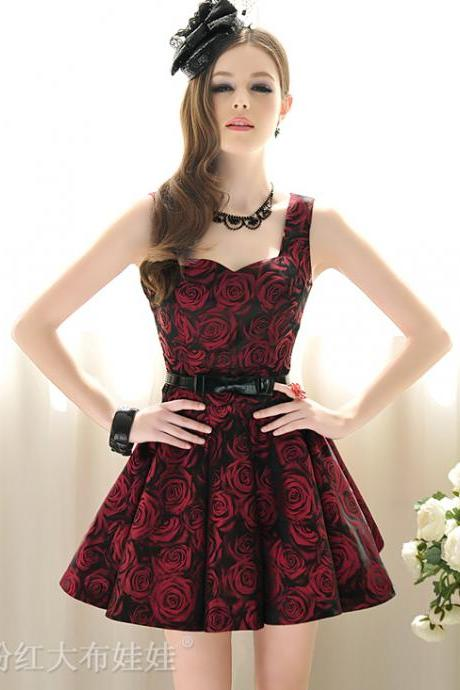 Beautiful Rose Pattern Vintage Inspired Sleeveless Dress