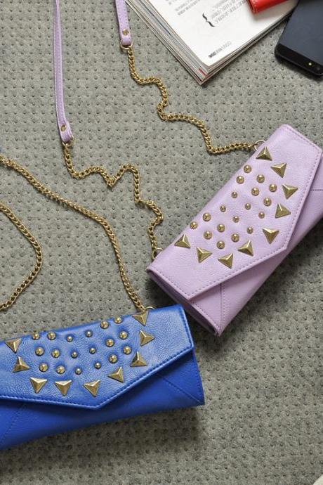 Pink & Blue Envilop Bag Purse With Rivet Decoration