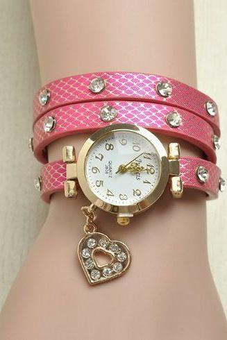 Love me heart rhinestones pink woman watch