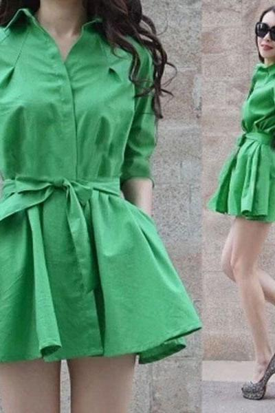 Elegant Pure Color Bow Belt Pleated Dress