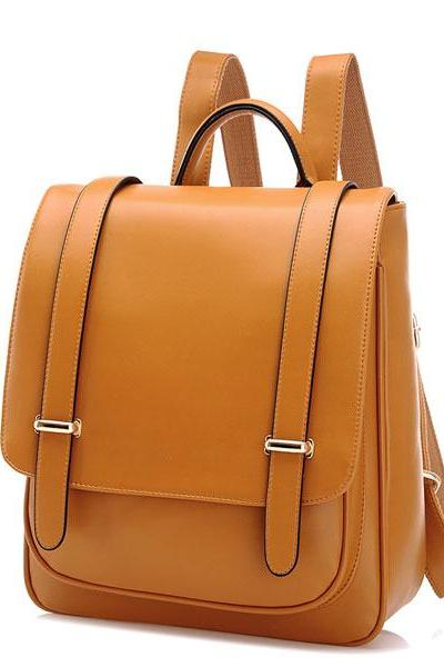 Double Buckle Leather Shoulder Bag
