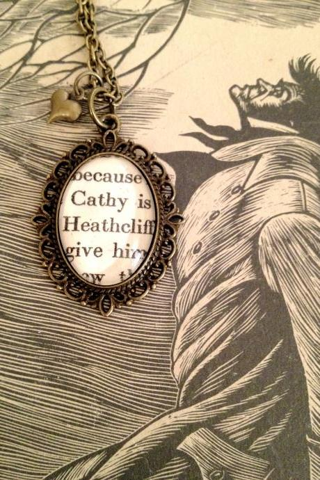 Cathy and Heathcliff from Wuthering Heights Bronze Book Necklace`