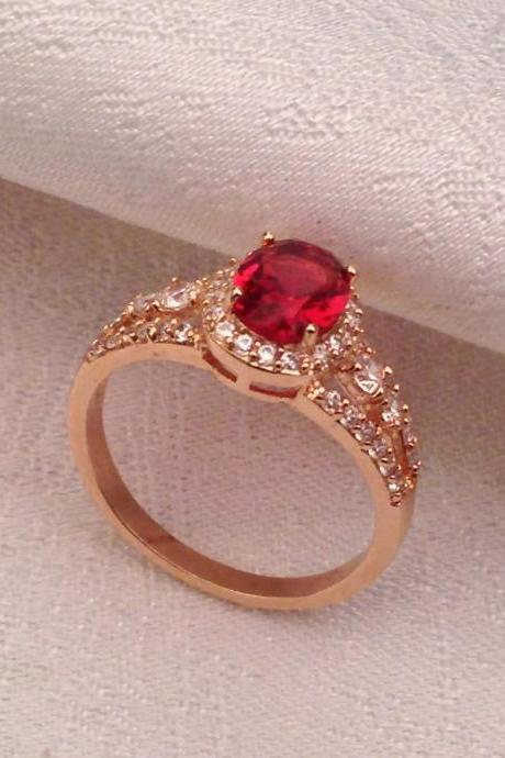 Bling Rose Gold Ring with Oval Red Quartz Stone