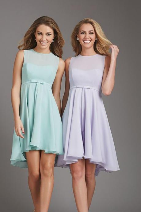 Bd232 A-Line Bridesmaid Dress,Short Bridesmaid Dress,Chiffon Bridesmaid Dress
