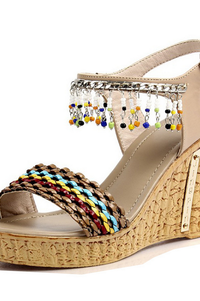 Bohemian fashion beaded leather sandals Pendants